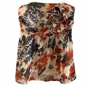 Strapless Floral Babydoll Blouse